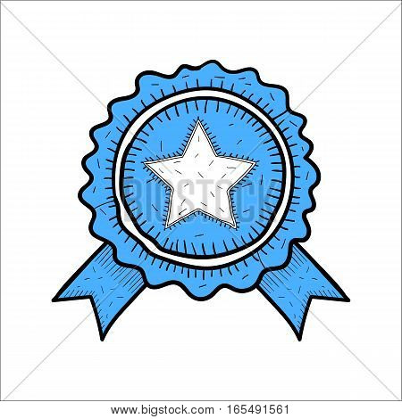 Vector blue badge icon hand drawn style isolated on white background. Award winner symbol for site design logo app