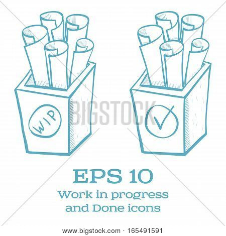 Blue vector Done and Work in Progress hand drawn icons isolated on white background.