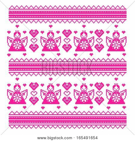 ethnic Ukraine cross stitch pattern with angels, hearts. vector illustration white and pink with decorative ornaments