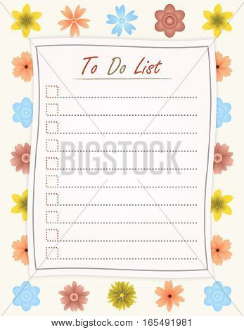 To do list paper on the flower design background - motivational inscription template