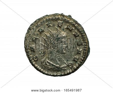 Roman Ancient Silver Coin Isolated On White