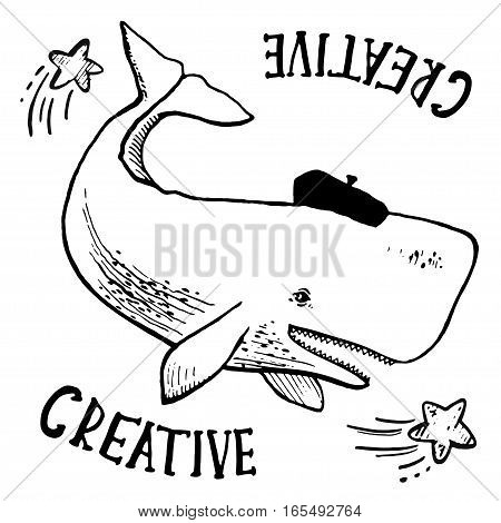 White sperm whale as an artist in a beret, Hand drawn simple vector illustration.