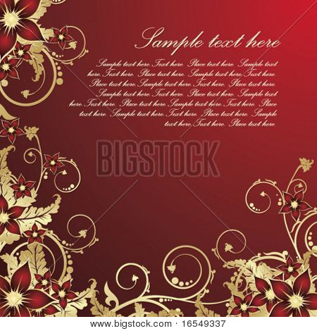Golden floral card