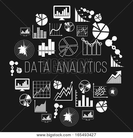 Datum analytics label or data analytics and informatics vector badge. Statistic market economy illustration