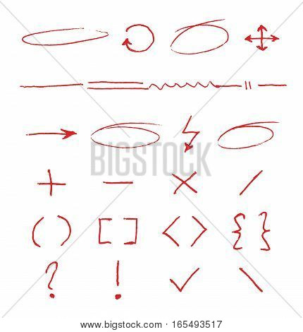 Marker emphasis vector handwritten circles, arrows and underlines on white paper. Doodle marker elements, bracket and plus minus illustration