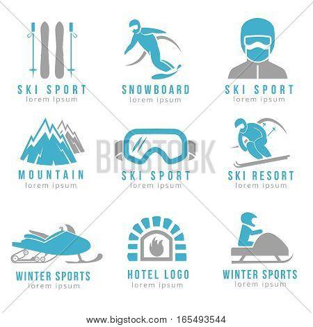 Ski resort and mountain hotel logo set with skiing and snowboarding. Set of logo for hotel and ski resorts illustration