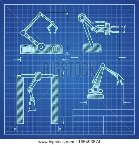 Robot arms blueprint machine industrial robotic vector. Project blueprint robotic arm illustration