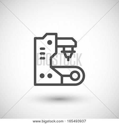 Conveyor equipment line icon isolated on grey. Vector illustration