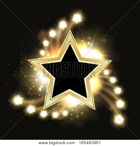 Stars vector sparkling gold background design with star frame. Golden star sparkle, shine and glitter christmas illustration