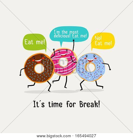 Eat sweet tasty donut poster. Cute colorful glazing donuts with speech bubbles. Banner with character yummy donuts. Vector illustration
