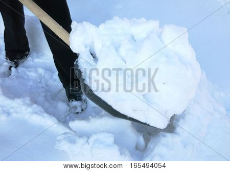 man clears snow from the road snow shovel