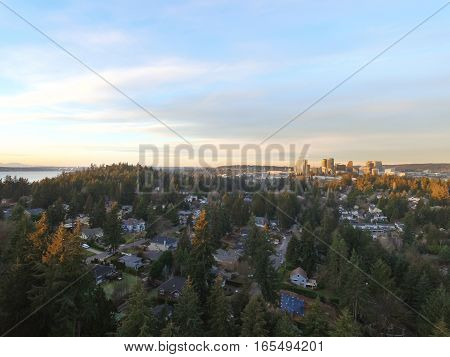 Aerial Panoramic Photo Of Residential Area In Bellevue Downtown