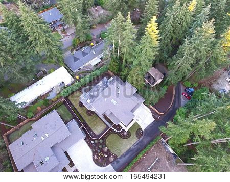 Aerial View Of New Construction Home