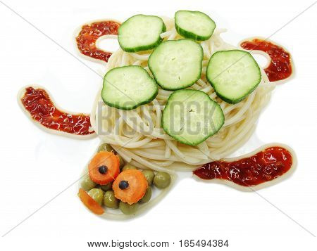 creative vegetable food meal with spaghetti turtle form