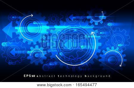 Mechanic blue vector background with gears. Digital engineering cogwheels concept. Gear cogwheel pattern illustration