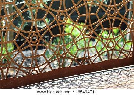 Large abstract rusty metal garden design element