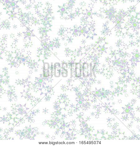 Abstract light snowflake pattern on white background.  Floral texture. Seamless illustration.
