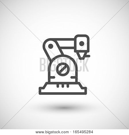Robotic arm line icon isolated on grey. Vector illustration