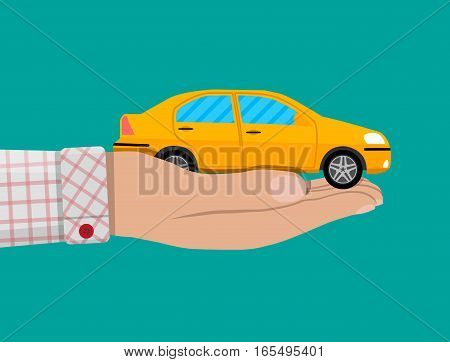 Hand with yellow car. present concept. vector illustration in flat design
