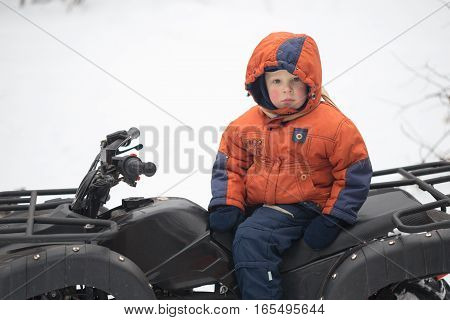 Gomel, Belarus - January 15, 2017: Country Winter Family Holiday. Quad Biking In The Winter.