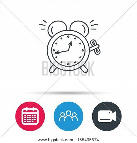 Alarm clock icon. Mechanical retro time sign. Watch with bell symbol. Group of people, video cam and calendar icons. Vector