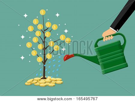 Businessman hand watering money coin tree with can. growth, investment concept. vector illustration in flat style