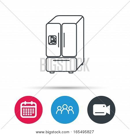 American fridge icon. Refrigerator with ice sign. Group of people, video cam and calendar icons. Vector