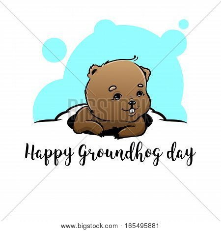 Happy Groundhog Day Vector Design with Cute Marmot Character