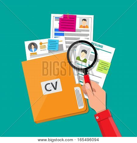 Human resources management concept, searching professional staff, work, analyzing resume, folder with documents. vector illustration in flat design on blue background