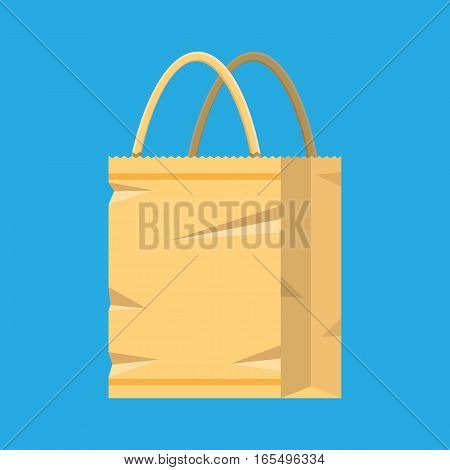 Grocery empty paper bag. vector illustration in flat style