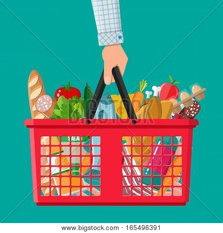 Red plastic shopping basket full of groceries products in hand. Grocery store. vector illustration in flat style
