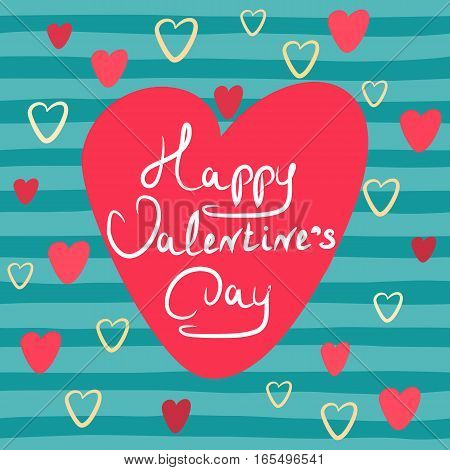 Hand drawn Greeting card banner with text Happy Valentines Day in vintage style. Vector illustration