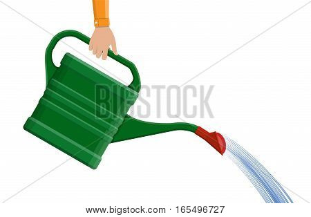 Hand with green plastic watering can isolated on white. vector illustration in flat style