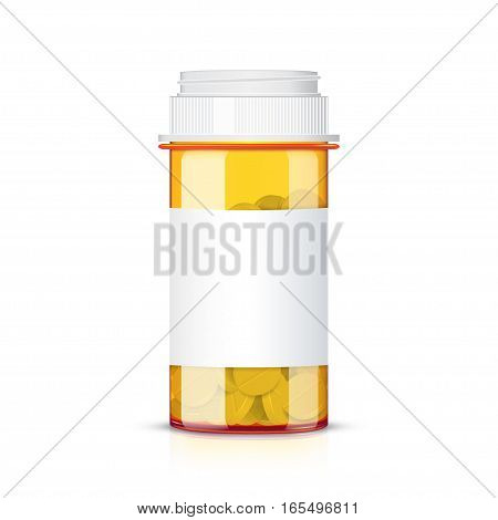 Medication pills in pills bottle isolated on white background