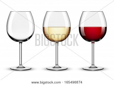 Wine glasses - empty red wine and white wine