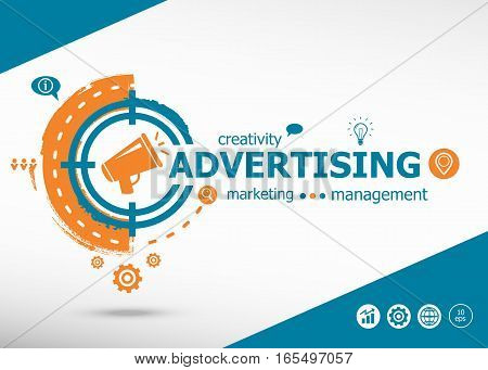 Advertising On Target Icon Background. Flat Illustration.