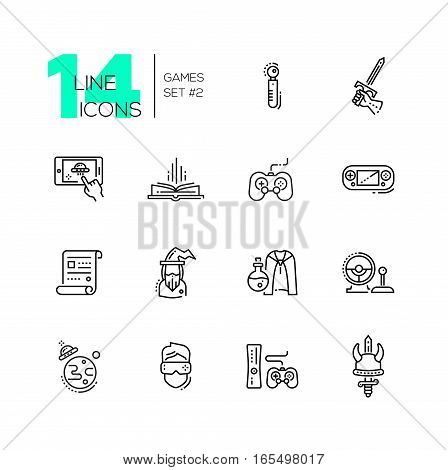 Video - modern vector line design icons set. Joystick, sword, mobile device app, book, portable, game console, paper, wizard, magic accessories camera ufo virtual reality