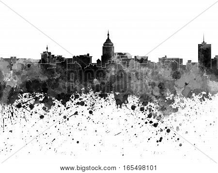 Fresno skyline in artistic abstract black watercolor