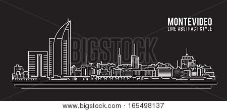 Cityscape Building Line art Vector Illustration design - Montevideo city
