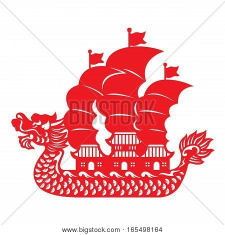 Red paper cut Dragon Chinese junk boat vector design