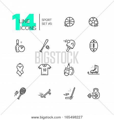 Kinds of sport - modern vector line design icons set. Basketbal, football, bowling, baseball, ping-pong, rugby, swimming, t-shirt, boxing, skating, tennis skate boarding hockey weight lifting