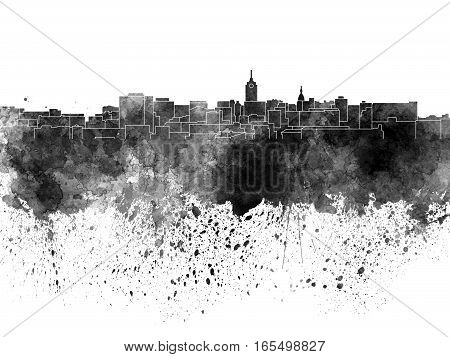 Lansing skyline in artistic abstract black watercolor