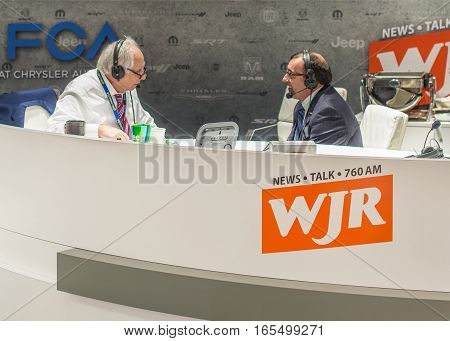 DETROIT MI/USA - JANUARY 10 2017: Paul W. Smith American talk radio host and columnist broadcasting from the WJR 760 booth at the Chrysler marque at the North American International Auto Show (NAIAS).