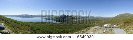 Lapland landscape: panoramic view of Lake Kilpisjarvi and the surrounding area from the top of Saana fell Kilpisjarvi Finnish Lapland Finland Europe