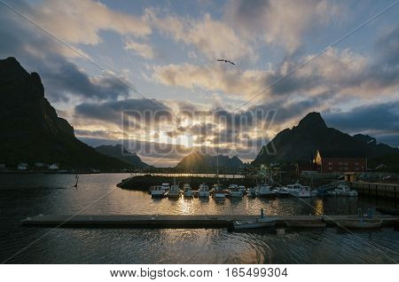 Evening sunset on the harbor of the fishing village of Reine Moskenes Lofoten Islands Norway Europe