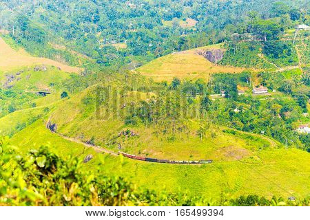 Demodara Loop Spiral Track Train Hill Distant View