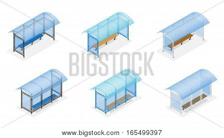 Isometric Bus stop on the white background. Public Transport Stop with Billboard and Place for Message. Flat 3d vector illustration.