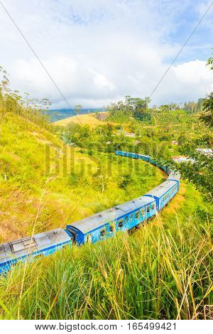 Demodara Loop Train Curving Spiral Track Sri Lanka