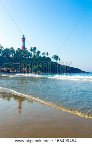Kovalam Beach Ocean Waves Lighthouse Outcrop V
