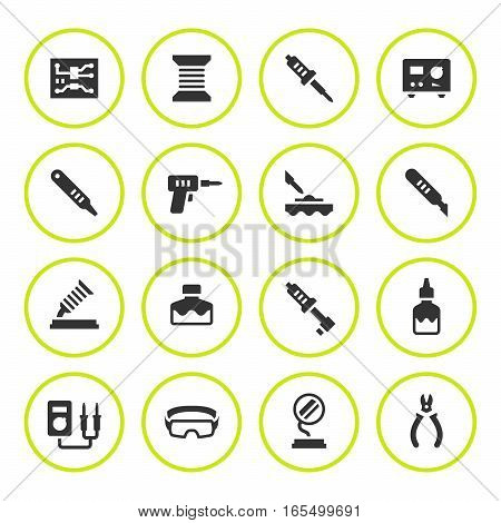 Set round icons of soldering isolated on white. Vector illustration